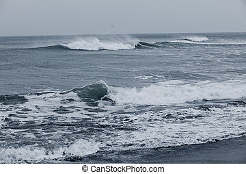 the Pacific coast of Kamchatka - beach of black volcanic...