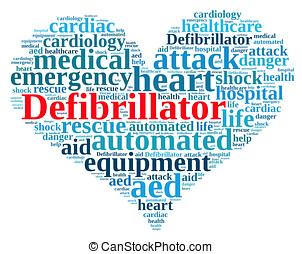 Word cloud relating to Defibrillator. - Illustration with...