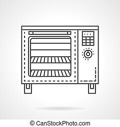 Bakery equipment flat line vector icon Stove - Modern oven...