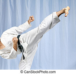 Athlete is beating blow leg - With black belt athlete is...