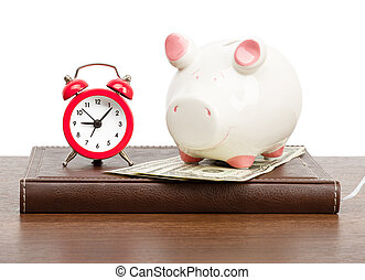 Alarm clock with piggy bank on personal organizer