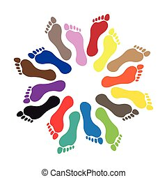 Barefoot - Round from human barefoots, illustration