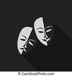 Theatre masks lucky and sad, flat design