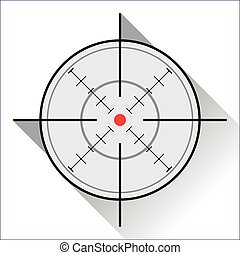 Crosshair - crosshair with red dot in a flat design