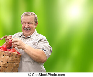 Happy senior man with apples in bucket On green background
