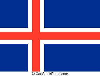 Iceland National Flag - The red white and blue national flag...