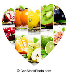 Fruit mix - Photo of colorful fruit mix with heart shape