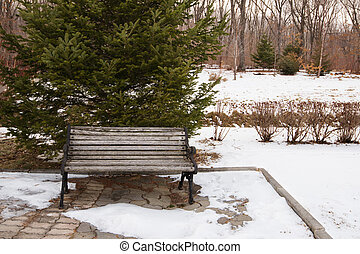Bench in the park covered with snow.
