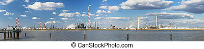 Antwerp Harbor Refinery Panorama - Panorama of a large...