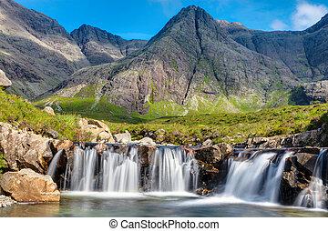 Small waterfall on the Isle of Skye in Scotland