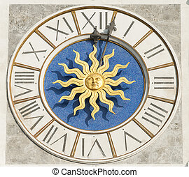 Church clock dial - The clock face of an Italian bell tower