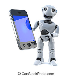 3d Robot holds a smartphone tablet device - 3d render of a...