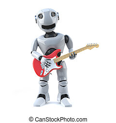 3d Robot plays electric guitar - 3d render of a robot...