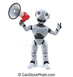 3d Robot using a megaphone to make an announcement - 3d...