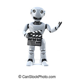 3d Robot is making a movie - 3d render of a robot holding a...