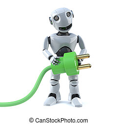 3d Robot is using green energy - 3d render of a robot...