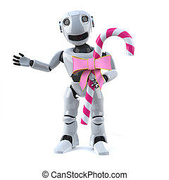 3d Robot has candy - 3d render of a robot holding a stick of...