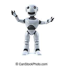 3d Robot cheers with happiness - 3d render of a robot...