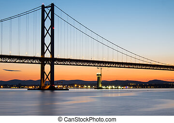 The Forth Road Bridge in Scotland after sunset
