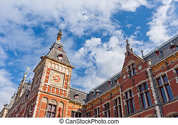 Fragment of cental train station in Amsterdam.