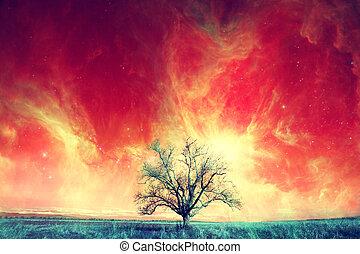 alien tree background - red alien landscape with alone tree...