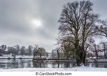 River Danube in winter - Picture of the Danube and the sky...