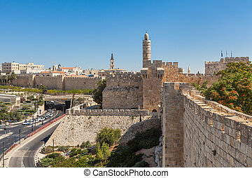Ancient walls and Tower of David in Jerusalem.