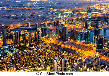 View of Business Bay district from Burj Khalifa - Dubai