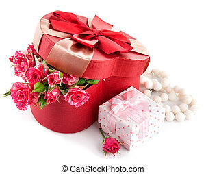 Gift with bunch roses on valentines day