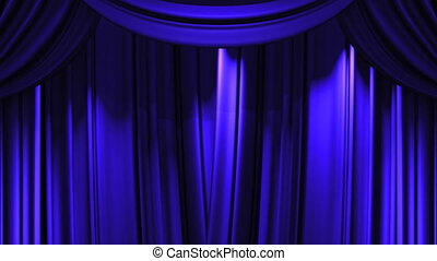 Blue Stage Curtain On Green Chroma key 3D render Animation