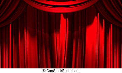 Red Stage Curtain On Green Chroma key 3D render Animation