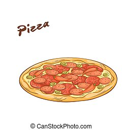 vector illustration of isolated cartoon hand drawn fast food. Pizza