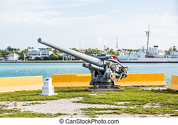 Cannon by Coast Guard Station - An old howitzer cannon with...