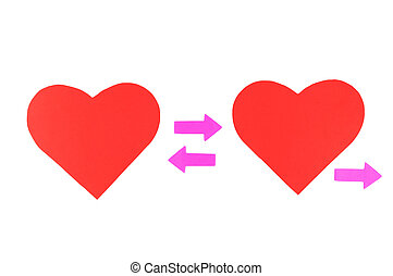 Two red paper hearts with three pink arrows, concept...
