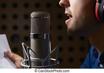 micrófono, notas, Hablar, estudio, tenencia, hombre