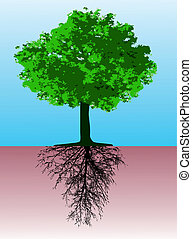 Tree with roots - This image is a vector illustration and...