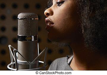 grabación, estudio, vocalista, hembra