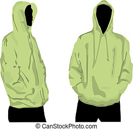 Mens sweatshirt template with human body silhouette