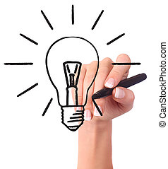 Hand drawing light bulb, isolated on white - EcologyBusiness...
