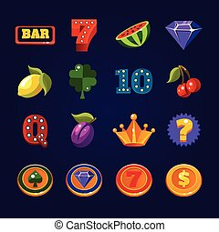 Vector Slot Machine Symbols Set - Various slot machine icons...