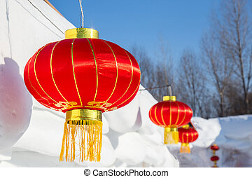 Chinese lanterns attached to snow house - Chinese red...