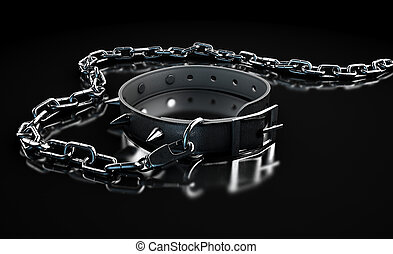 Leather Studded Collar And Chain - A black leather dog...