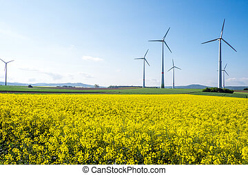 Windwheels and rapeseed in Germany - Windwheels and a yellow...