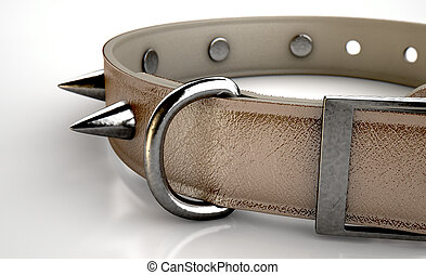Leather Studded Collar - A brown leather dog collar with...