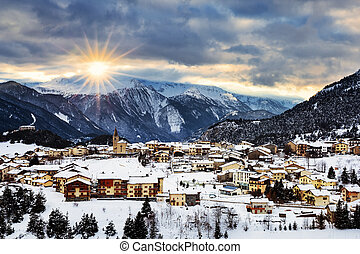 View of Aussois at sunset