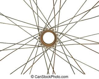 partie, de, une, vieux, Vélo, roue, isolé, sur, blanc,...
