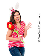 Teen girl with white rabbit ears - Happy teen girl with...