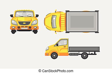 Light truck with trailer top front - Stock vector...
