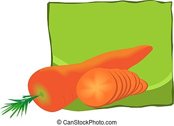 carrots with it's leaves - Illustration of two carrots with...