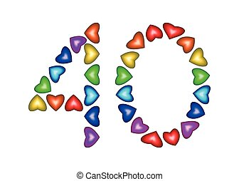 Number 40 made of multicolored hearts